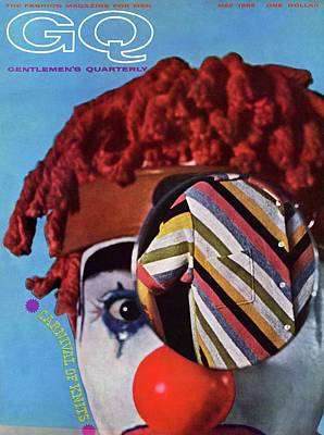 Men's Fashion Photograph - A Gq Cover Of A Clown And A Jacket by Chadwick Hall