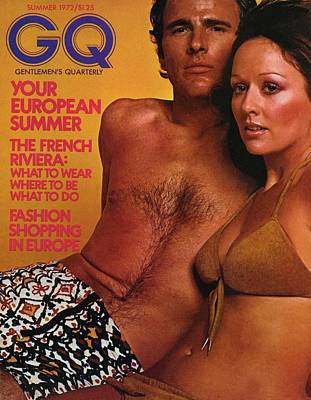A Gq Cover Of A Couple In Bathing Suits Art Print by Stephen Ladner