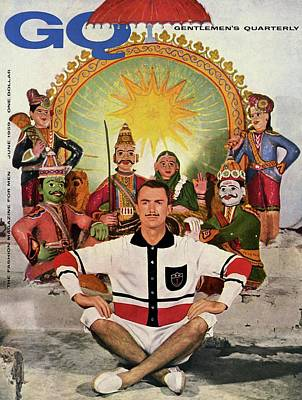 Men's Fashion Photograph - A Gq Cover Of A Model At A Hindu Temple by Emme Gene Hall