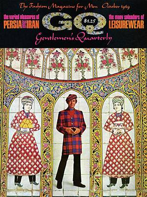 1969 Photograph - A Gq Cover Of A Model With A Persian Mosaic by Leonard Nones