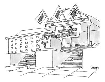 Toaster Drawing - A Grand Institution With A Large Toaster Statue by Jack Ziegler