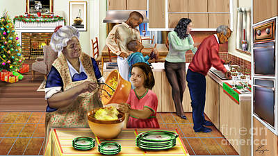 African American Family Painting - A Grandma And Grandpop Christmas by Reggie Duffie