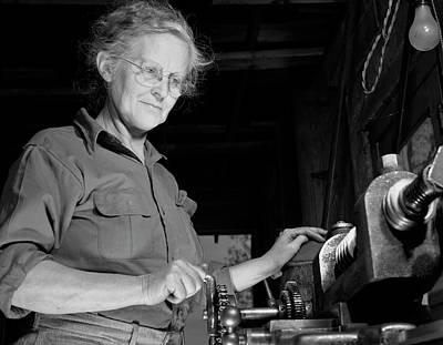 A Grandmother Cutting Gears Art Print
