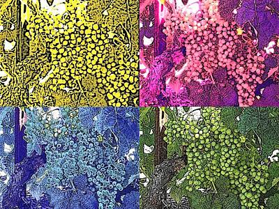 Vineyard Digital Art - A Grapeful Tribute To Andy by Sharon Bock