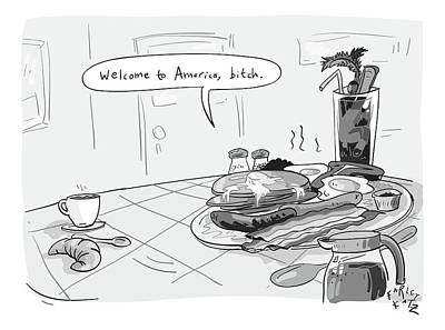 Plate Drawing - A Greasy Plate Of Pancakes by Farley Katz