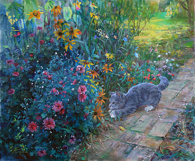 Painting - A Great Mystery For A Kitten by Galina Gladkaya