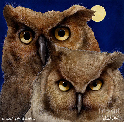 Great Horned Owl Wall Art - Painting - A Great Pair Of Hooters... by Will Bullas