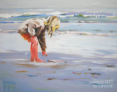 Little Girl On Beach Painting - A Great Shell by Mary Hubley