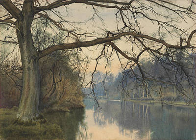 Overhanging Painting - A Great Tree On A Riverbank by William Fraser Garden