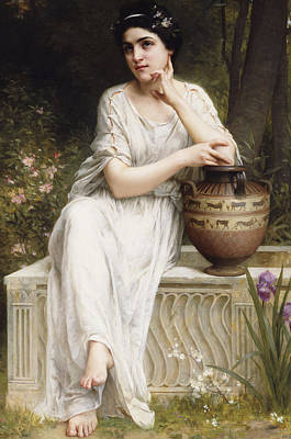 Contemplative Painting - A Grecian Beauty by Charles Amable Lenoir