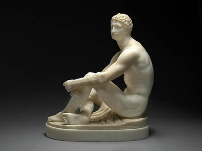 Sports Portraits Drawing - A Greek Boxer Waiting His Turn Signed By Chisel On Base by Litz Collection