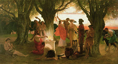Lute Photograph - A Greek Festival Oil On Canvas by Thomas Ralph Spence