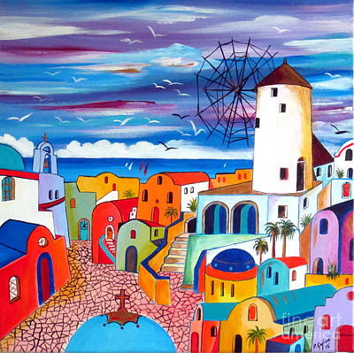 A Greek Mill And The Colors Of Oia Santorini  Art Print