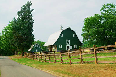 Farm Scene Photograph - A Green Barn Near President James by Panoramic Images
