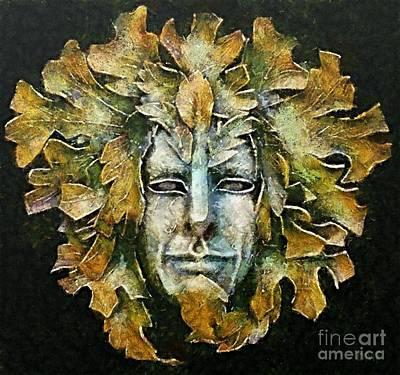 Venetian Mask Painting - A Green Man by Dragica  Micki Fortuna
