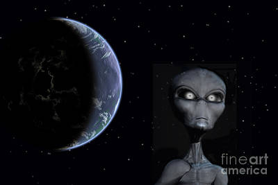 A Grey Alien With Planet Earth Art Print by Mark Stevenson