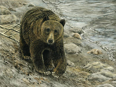 Drawing - A Grey And Grizzly Day by Sandra LaFaut