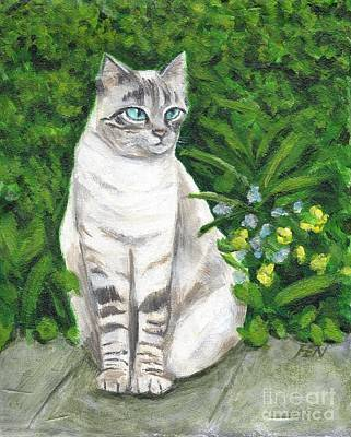 Cat Painting - A Grey Cat At A Garden by Jingfen Hwu