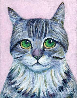 Kitten Painting - a grey strip cat says I've been a good boy by Jingfen Hwu