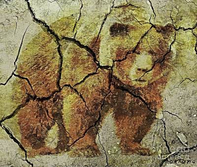 Prehistoric Drawing - A Grizzly - Cave Wall Art by Dragica  Micki Fortuna