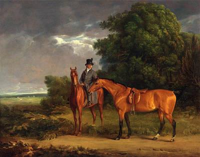 A Groom Mounted On A Chestnut Hunter, He Holds A Bay Hunter Art Print