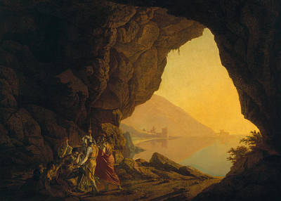 Plotting Photograph - A Grotto In The Kingdom Of Naples, With Banditti, Exh. 1778 by Joseph Wright of Derby