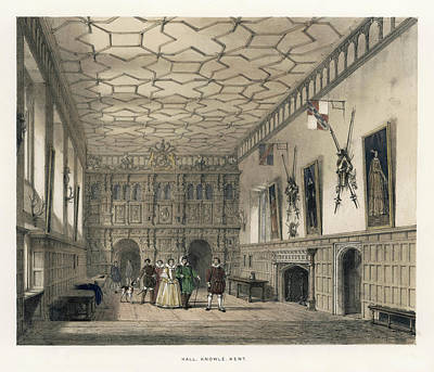 A Group Of Aristocrats In The  Hall Art Print by Mary Evans Picture Library