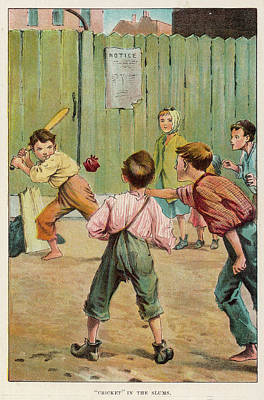 Cricket Drawing - A Group Of Boys Play A Game Of  Cricket by Mary Evans Picture Library