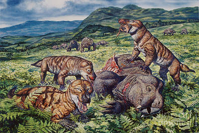 Bite Digital Art - A Group Of Carnivorous Cynognathus Prey by Mark Hallett