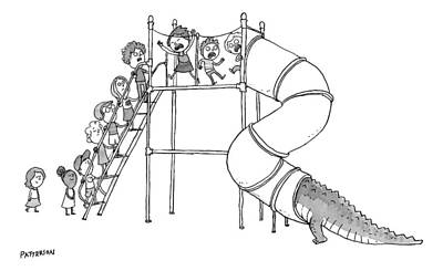 Playground Drawing - A Group Of Children Are Lined Up To Go by Jason Patterson