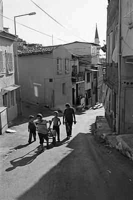 A Group Of Children In Kadifekale District In Izmir Art Print by Ilker Goksen
