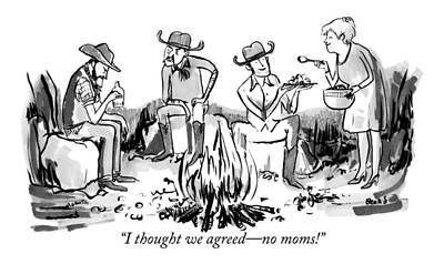 Campfire Drawing - A Group Of Cowboys Are Sitting Around A Campfire by Kate Beaton