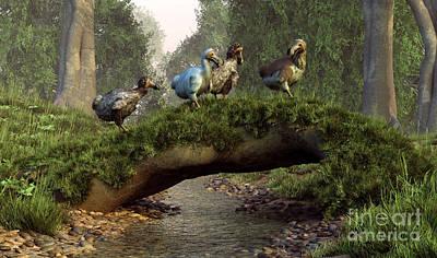 Mauritius Digital Art - A Group Of Dodo Birds Crossing by Daniel Eskridge