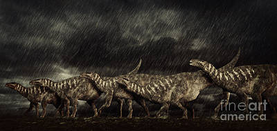 A Group Of Iguanodons Struggle Art Print by Philip Brownlow