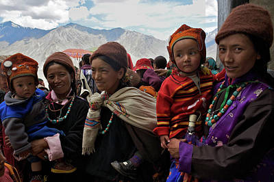 Woman With Cameras Photograph - A Group Of Ladakhi Onlookers by Steve Winter