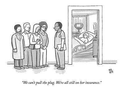 Death Drawing - A Group Of People Talk To A Doctor by Paul Noth