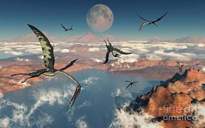 A Group Of Quetzalcoatlus Pterosaurs Art Print