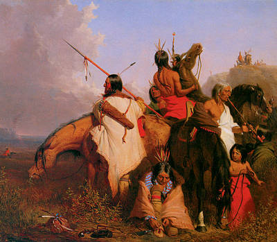 American Indian Children Painting - A Group Of Sioux by Charles Deas