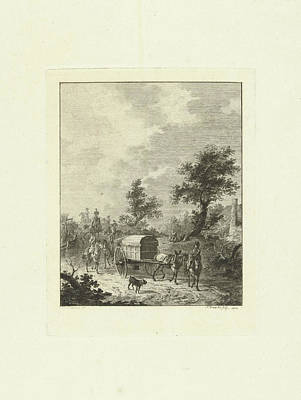 Wagon Wheels Drawing - A Group Of Soldiers On Horseback, Joannes Bemme by Joannes Bemme