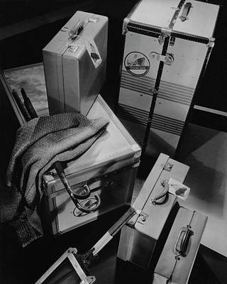 Leisure Photograph - A Group Of Suitcases Ready For Travel by Anton Bruehl