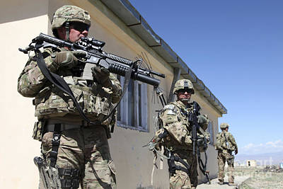 Logar Photograph - A Group Of U.s. Army Soldiers Provide by Stocktrek Images