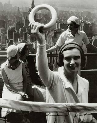 Women Tennis Photograph - A Group Of Women On A Rooftop Deck In Manhattan by Margaret Bourke-White