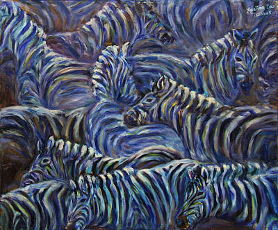 Art Print featuring the painting A Group Of Zebras by Xueling Zou