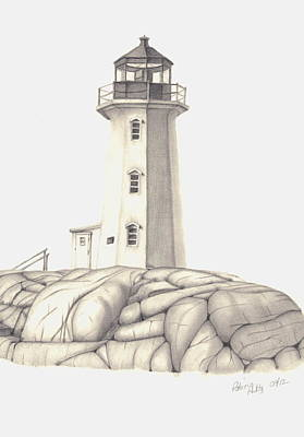 Lighthouse Drawing - A Guiding Light by Patricia Hiltz