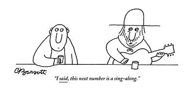 Drawing - A Guitarist At A Bar Speaks To The Drinker by Charles Barsotti