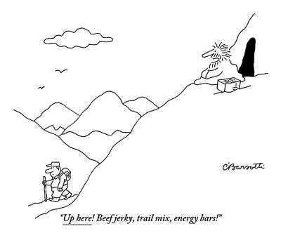 Hiking Drawing - A Guru Is Seen Calling Out To A Hiker Walking by Charles Barsotti
