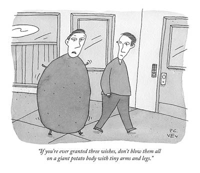 Genie Drawing - A Guy With A Giant Potato Body And Tiny Arms by Peter C. Vey
