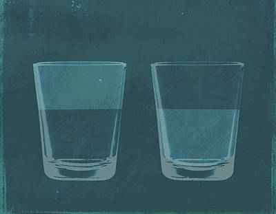 Digital Art - A Half Full Glass Of Water Next To A by Malte Mueller