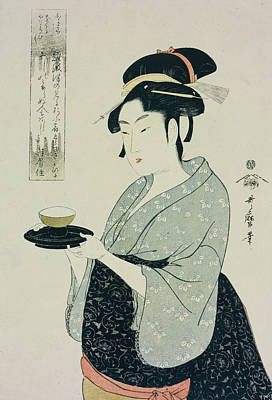 Tea Service Painting - A Half Length Portrait Of Naniwaya Okita by Kitagawa Utamaro