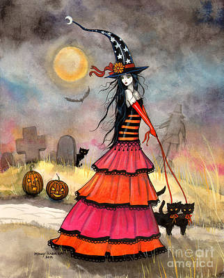 Witch Halloween Cat Wicca Painting - A Halloween Stroll by Molly Harrison